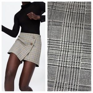 Zara Box asymmetrical plaid skort